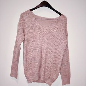 Pink Ribbed Knit V-Neck Drop Shoulder Sweater